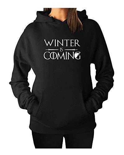 Qrupoad Women Winter is Coming Sweatshirt Game Thrones Hoodie Long Sleeve Oversized Cozy Fleece Pullover Tops with Pockets