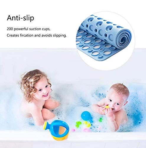 Nonslip Bathtub Mat Extra Soft Eco Friendly TPE Bath Mat for Kids, Machine Washable Bathroom Shower Mat, Smooth/Non-Textured Tubs Only, 30L x 17W Inch (Blue)