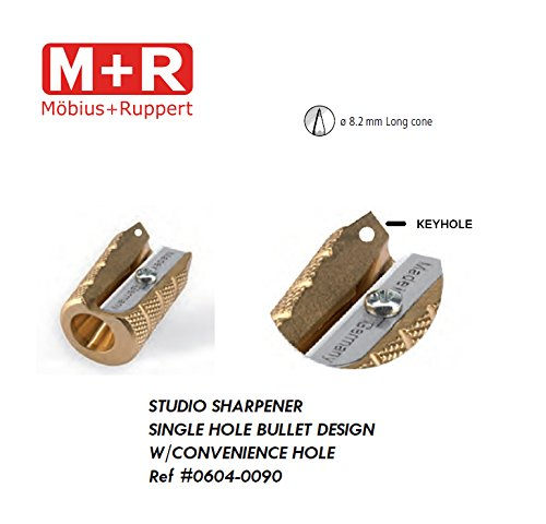 Mobius and Ruppert (M+R) Bullet Shaped Brass Pencil Sharpener w Keyhole (0604-90)