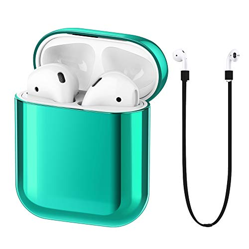 FRTMA Compatible with Apple Airpods Case PC Protective Cover & Anti-Lost Lanyard Apple Airpods 1st Gen Accessories Kits(Emerald Green)
