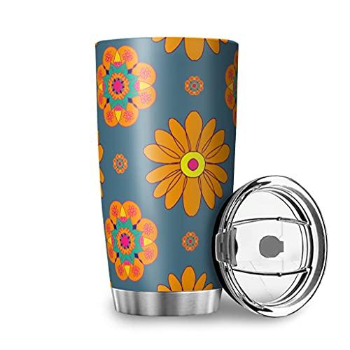 Harneeya Tumbler Magic Daisy Stainless Steel Coffee Mug Cartoon Car Cup for Home/Office/School 20oz White 20oz