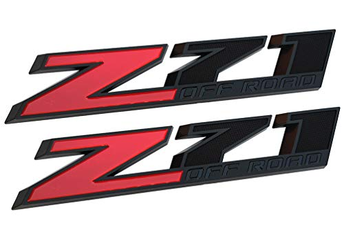 Yuauto 2 Pack OEM 10 Inch Big Chrome Z71 OFF Road Emblems Replacement Badge for GMC Chevy Silverado Sierra Suburban 2500hd (Red)