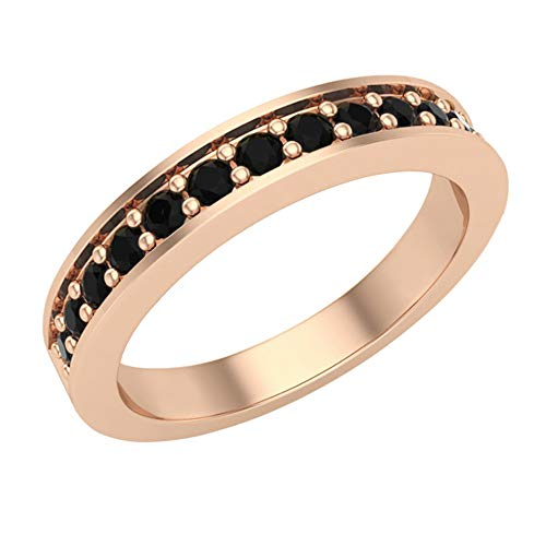 Glitz Design Mujer Niños Hombre Unisex oro 14 quilates (585) oro rosa 14ct round-shape Black Diamante negro