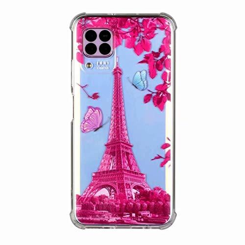 Funda para Huawei P40 Lite 5G, a prueba de golpes, ultrafina, transparente, con diseño de flores de dibujos animados, suave y flexible, de gel de silicona TPU para Huawei P40 Lite 5G Torre Roja