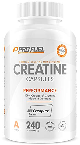 Creatin Creapure Kapseln vegan - 100% CREATINE-Monohydrat - 240 Kreatin Caps mit 850mg Kreatinmonohydrat pro Creatinkapsel - Made in Germany - PROFUEL