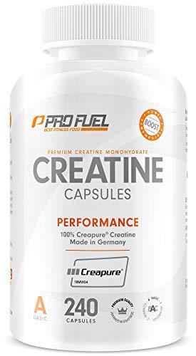 ProFuel Creatin Monohydrat Kapseln (100% Creapure®), 240 Caps | 850mg pro Creatin Kapsel | Hochwertiges Kreatin made in Germany, 100% vegan | Extra hochdosiert für Fitness & Kraftsport