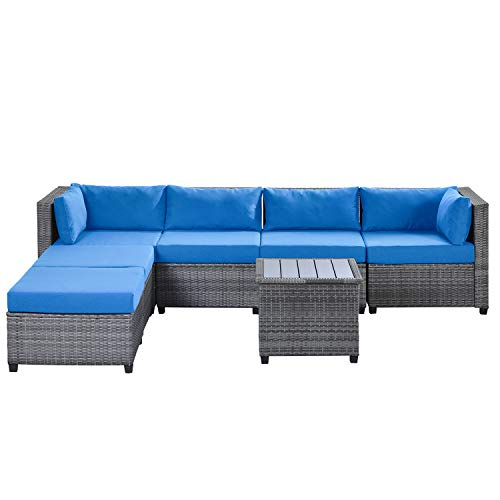 Extaum Rattan Furniture Set,Rattan Sectional Seating Group with Cushions, Outdoor Ratten Sofa 7 Piece