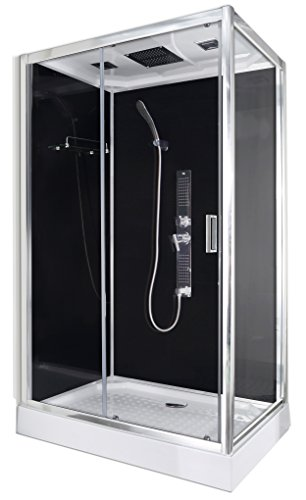 Box cabina doccia rettangolare TREND 3 80x120x210cm vetro 5mm temperato e profili in alluminio radio touchscreen 3 getti idromassaggio illuminazione a led CL72