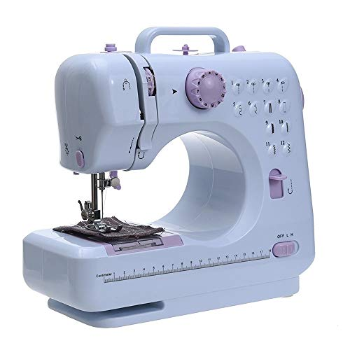 ARLT Portable Sewing Machine Mini Electric Household Crafting Mending Overlock 12 Stitches with Presser Foot Pedal Beginners (Color : UK with 12 kit)
