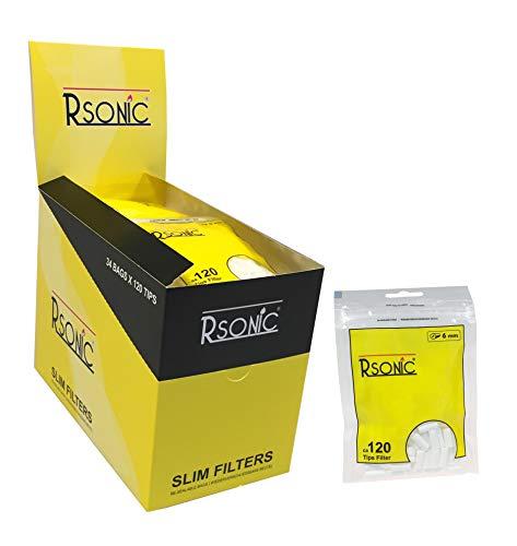 RSonic Drehfilter Slimfilter 20 Beutel x 120 Filter 6mm Zigarettenfilter Selbstgedrehte Zigaretten 4080 Filter