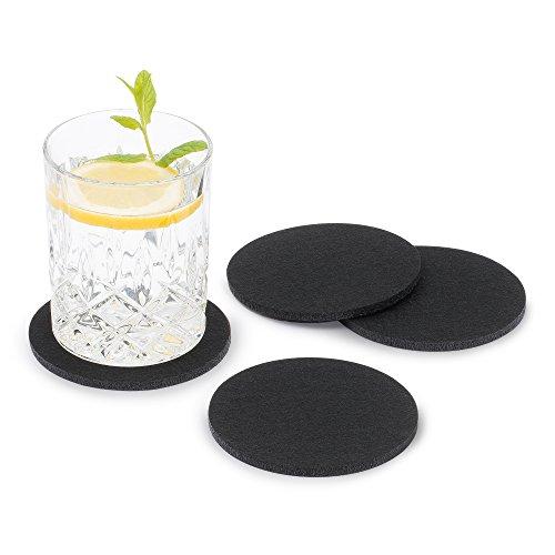 FILU Filzuntersetzer rund 8er Pack (Farbe wählbar) schwarz - Untersetzer aus Filz für Tisch und Bar als Glasuntersetzer/Getränkeuntersetzer für Glas und Gläser
