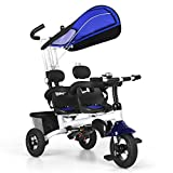 Baby Joy 4 in 1 Twins Kids Baby Tricycle 2 Children Bicycle W/Safety Double Rotatable Seat, Detachable Awning, Folding Foot Pedals, Enlarged Storage Basket, for Children Age 1 to 5 Years Old (Blue)