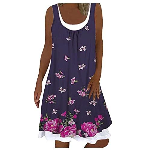 Vestido de verano para mujer, informal, largo, de cuello redondo, estampado de flores, sin mangas, vestido falso, vestido de dos piezas, elegante, vestido de verano, largo, casual, suelto. morado XXL