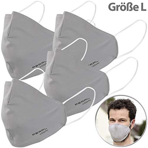 PEARL Mundmasken: 4er-Set Mund-Nasen-Stoffmasken mit Nanofilter, 98,9%, waschbar, Gr. L (Mund Nase Masken)