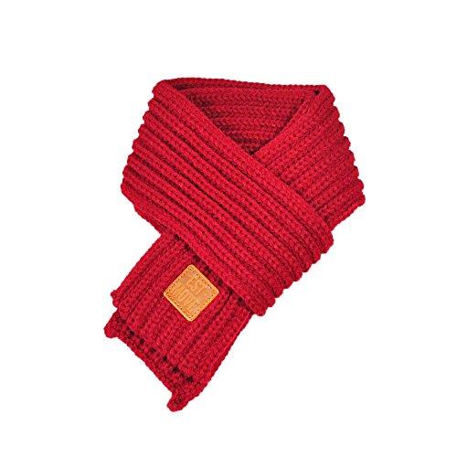 SUCES Winter Schals für Kinder Jungen Mädchen Outdoor Strickschal Winterschal Dicke Warme gestrickte Steck-Schal mit Bommel Kinderschal Skifahren Wandern (Wein)