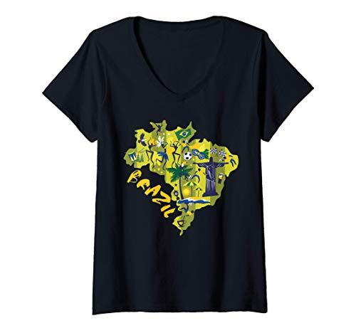Mujer Bandera Brasil Mapa Viaje Regalo Recuerdo Elemento Brasileño Camiseta Cuello V