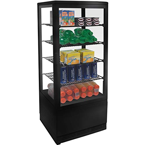 ZORRO - Kühlvitrine schwarz Kuchenvitrine Gastro - 100 Liter - R600A - 4-Seitig Doppelverglast