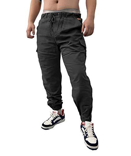 SOMTHRON Herren Elastische Taille Gürtel Baumwolle Jogging Sweat Hosen Plus Size Mode Lange Sports Cargo Hosen Shorts mit Taschen Joggers Activewear Hosen, Dark Grey, M