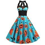 Vestido Swing Halloween de Mujer Vendimia Impresión Cabestro Fiesta Nocturna