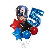 Xx101 Globo 7 unids Spider Hierro Capitán América Hulk Globos Superhéroes Set 30 Pulgadas Número Cumpleaños Decoraciones Decoraciones Niños Juguetes (Color : Blue Number 5 Set)