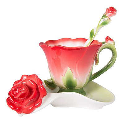 XOSHX Beste 3D Rose Form Blumentopf Keramik Kaffeetasse Und Teller Löffel Hochwertige Porzellan Tasse Kreative Design Rot