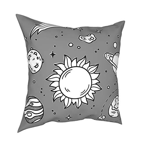 Cut Universe DecorativeSlipSilkCushion Cover withHidden Zipper, Both Sides Anti-Allergy Pillow Covers Standard for Sofa ChairBed Car 18'x18' Inch