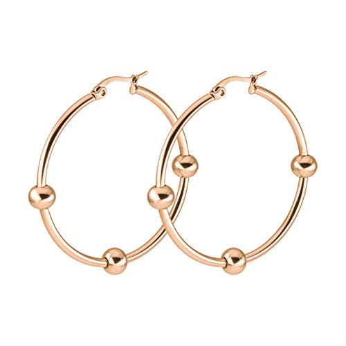 Hebilla de oreja grande de moda y simple con pequeño anillo de oreja de bola redonda aretes de acero inoxidable de titanio joyería de perforación del cuerpo humano-oro 50 mm