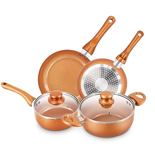 6-piece Nonstick Kitchen Cookware Set, Ceramic Coating Cooking Pot and Pans Set, Stock Pot/Milk Pot/Frying Pans Set, Copper Aluminum Pan with Lid, Induction/Gas Kitchenware Set,Gifts for Wi