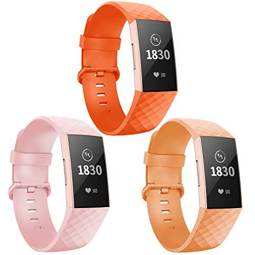 Adepoy - Correa de repuesto para Fitbit Charge 3, ajustable, clásica, deportiva, compatible con Fitbit Charge 3/ Charge 3 SE, para mujer y hombre, pequeño, color 17 naranja/rosa/naranja claro.