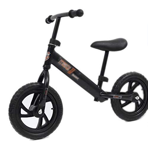 Huachaoxiang Niños Bicicleta De Equilibrio, Equilibrio Bicicletas para Pequeños Y con Color Al Azar Casco Caminar Formación Sin Pedal,Negro