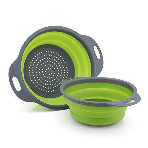 GCBTECH Faltbarer Seiher, 2 Stück sieb silikon klappbar nudelsieb Abtropfsieb Küchenzubehör Für Pasta Reis Gemüse Frucht (Grün)