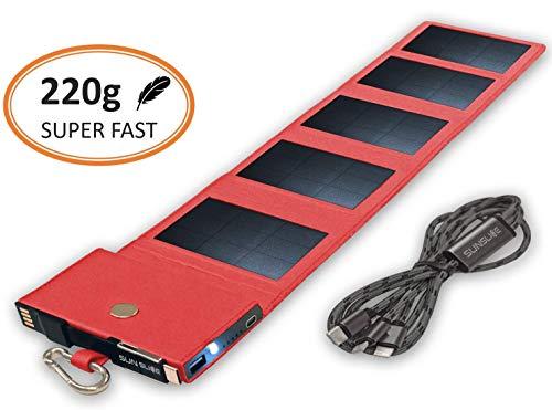 Cargador Solar Movil equipado con tecnología SunPower, Power Bank carga rápida, tamaño de bolsillo, Panel Solar compatible con iPhone, Samsung, Huawei, ideal para caminar, rojo