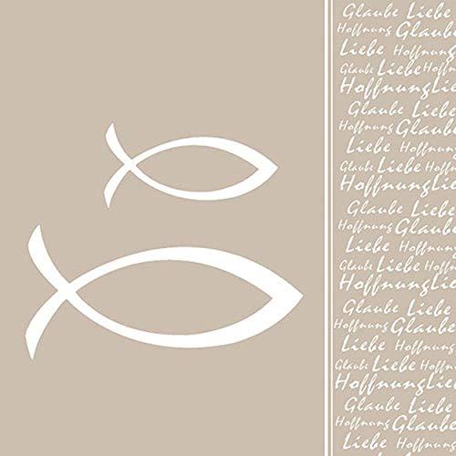 Ambiente Luxury Paper Products 40 Servietten Taupe Fisch Kommunion Konfirmation Taufe Tischdeko Hochzeit Serviettendeko