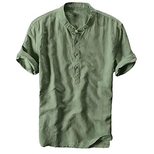 Camiseta De Lino para Hombres Camisa De Manga Corta De Algodón De Algodón De Verano Summer Slim Stand-Collar con Botones Verde XL
