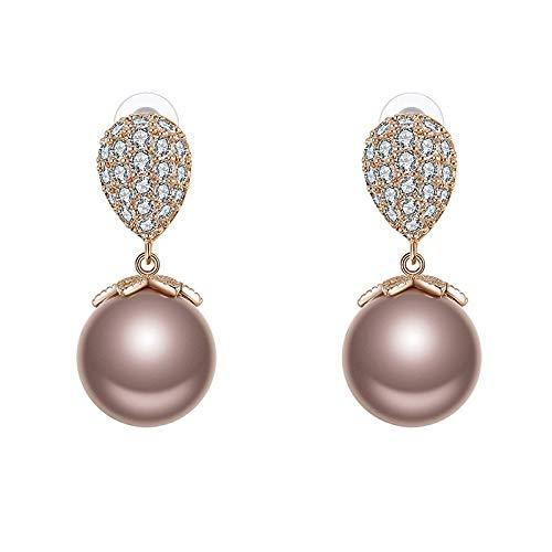 GLLWFU Pendientes de Perlas de Hoja Dangler Moda Largo Eardrop Alaid Pendientes Zircon Pendientes Salvajes