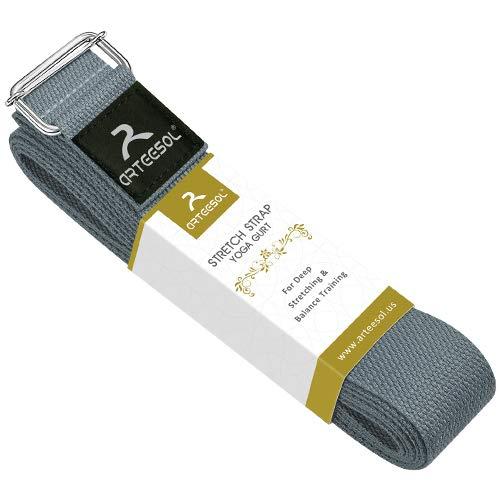 arteesol Yoga Gurt, Yoga Strap/Yogaband mit Schiebeschnalle aus Metall für Anfänger und Fortgeschrittene, Yoga, Ballett & Gymnastik Training-250 x 3,8 cm