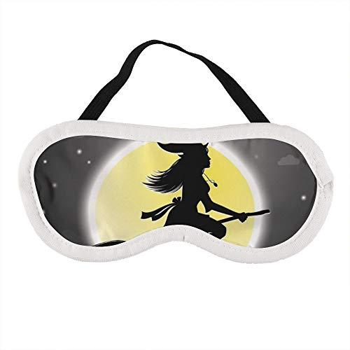 Halloween Heksen Vlieg op Broomsticks Slaapoog Masker Slapende Maskers Blinddoek Katoen Oog Kussen Zacht voor Vrouwen Mannen Reizen Naps Gepersonaliseerd