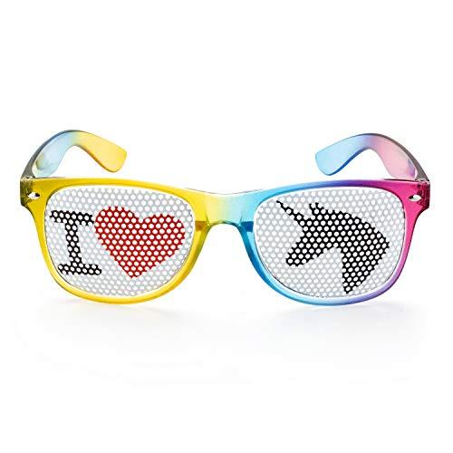 seven9 Einhornbrille I Love Einhorn Spaßbrille, Partybrille für den Ballermann oder jedes Einhornkostüm, Karnevalsbrille für Damen und Herren, Brille für das perfekte Festival oder Malle