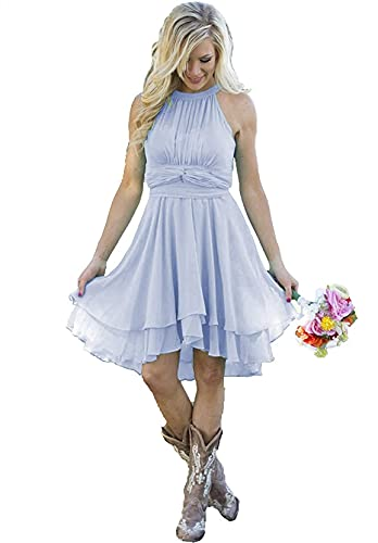 ANGELWARDROBE Women's Bridesmaid Dress High Low Short Homecoming Dresses A-Line Formal Party Evening Gown Lavender Plus Size 22