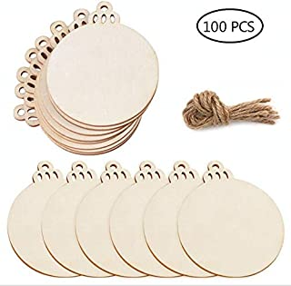 100 PCS Natural Wood Slices 3.0 inch DIY Wooden Christmas Ornaments Unfinished Predrilled Wood Circles for Crafts Centerpieces Holiday Hanging Decorations