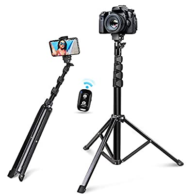 """60"""" Selfie Stick Tripod, Integrated, Torjim Portable Phone Tripod with Phone Holder, Bluetooth Remote for iOS & Android, Tripod Stand Perfect for Camera & Cell Phone with 360°Tripod Head by Torjim"""