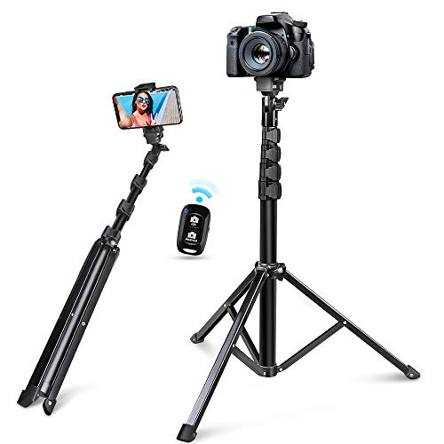 "60"" Selfie Stick Tripod, Integrated, Torjim Portable Phone Tripod with Phone Holder, Bluetooth Remote for iOS & Android, Tripod Stand Perfect for Camera & Cell Phone with 360°Tripod Head"