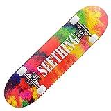 QUNHU Skateboard, Completa 7 Capas Deck 31'x8 Patinaje de Skate Maple Wood Longboards Deportes al Aire Libre Durable Skate Tablero para Principiantes Doble Patada Skateboards para Adultos