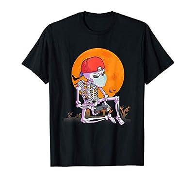 Men Boys Gamer Gift Skeleton wear Mask Outfit Halloween T-Shirt