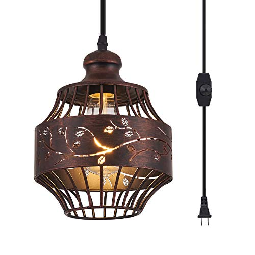 YLONG-ZS Plug in Pendant Lights with 16Ft Hanging Cord and On/Off Dimmer Switch, Upgraded Industrial Metal Swag Ceiling Lamp for Dining Room, Kitchen Hallway,Dark Bronze Finish