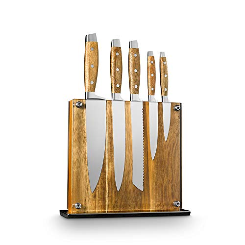 "Art and Cook Stainless Steel 5 Piece Knife Set with 1 Magnetic Block: 8"" Chef's Knife, 8"" Slicer Knife, 8"" Bread Knife, 5"" Utility Knife, 3.5"" Paring Knife, 1 Acacia Wood Block"