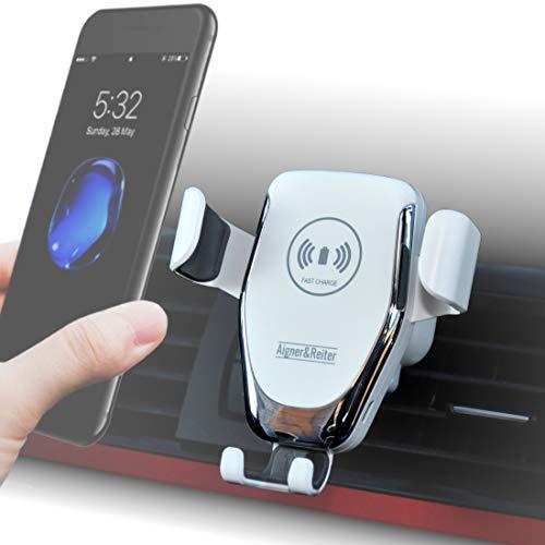 Auto-Handyhalterung mit kabellosem Ladegerät, Wireless Car Mount Charger, Schnellladegerät, Induktionsladegerät für alle iPhone, Samsung Galaxy, Huawei, LG mit Qi Standard (weiß) Fast Charging