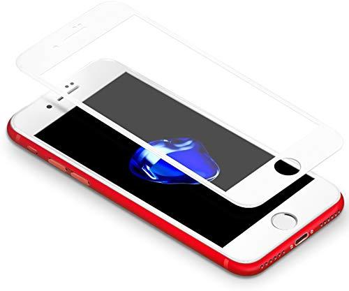 iPhone 7 Plus/8 Plus, Protector 3D Coolreall Curva Blanco Completo Cobertura Templado Vidrio Protector de Pantalla 9H (HD blanco)