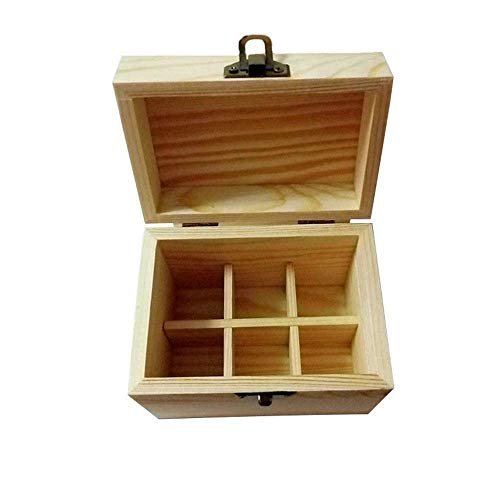 WUYUESUN Esencial de Almacenamiento de Aceite Caja de la Caja de Madera Organizador Tiene Capacidad Compatible with 6 Botellas de Agua Segura Compatible with Llevar Pantalla Y la casa Compatible with