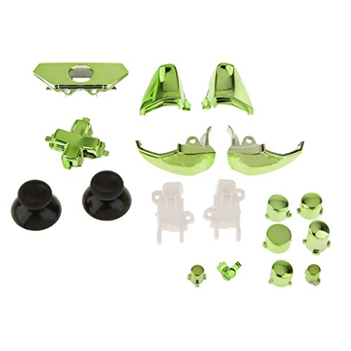 #N/A/a 18pcs Chrome Colouful Pad Triggers Kits de Botones Completos Controlador Mod para Xbox One - Verde